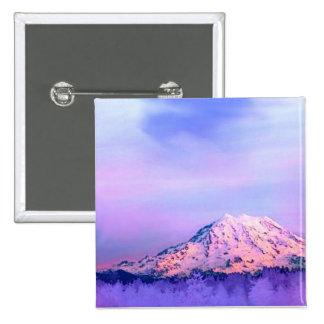 Lavender Sky Mt. Rainier Pinback Buttons