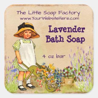 Lavender Soap and Bath Products Label Square Sticker