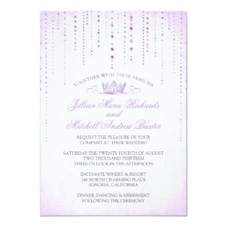 Lavender Sparkles & Crown Fairytale Wedding Card