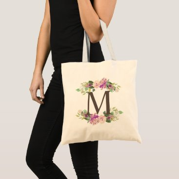 Bride Themed Lavender Spring Floral Watercolor Garland Monogram Tote Bag