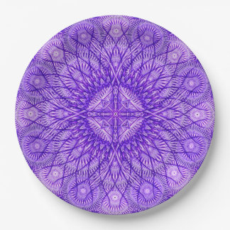 Lavender Star Mandala Paper Plate