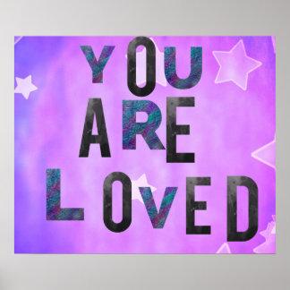 Lavender Stars Background.. Typography Love Poster