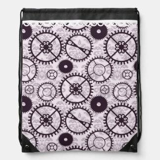 lavender Steampunk watch gear and damask pattern Drawstring Bag