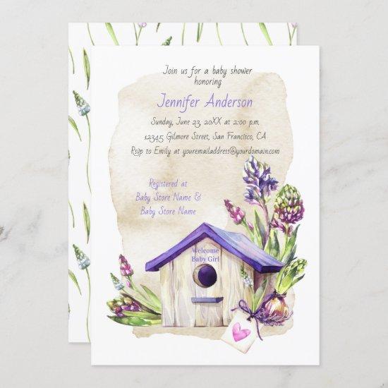 Lavender Stems Purple Birdhouse Baby Shower Invitation
