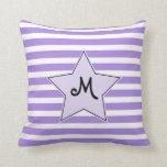 Lavender Striped Monogramed Rock Star Throw Pillow