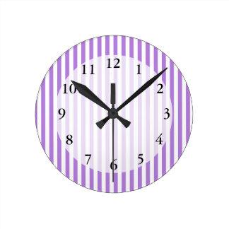 Lavender Striped Pattern Wallclocks