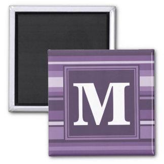 Lavender stripes 2 inch square magnet