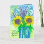 "Lavender Sunflower Bouquet Happy Birthday Card<br><div class=""desc"">A pretty floral happy birthday greeting card featuring a bouquet of sunflowers,  lavender,  and baby's breath in a blue jar with a chartreuse green background painted with watercolor.</div>"
