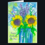 """Lavender Sunflower Bouquet Happy Birthday Card<br><div class=""""desc"""">A pretty floral happy birthday greeting card featuring a bouquet of sunflowers,  lavender,  and baby&#39;s breath in a blue jar with a chartreuse green background painted with watercolor.</div>"""