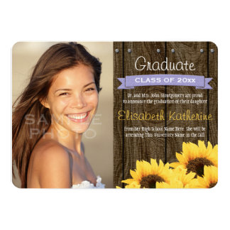 Lavender Sunflower Graduation Announcement