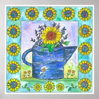 Lavender Sunflowers Bouquet Watercolor Painting Poster