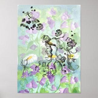 Lavender Sweet Pea Flowers Fairy Watercolor Poster