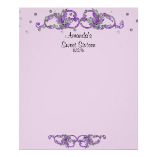 Lavender Sweet Sixteen, Bat Mitzvah Sign in Board
