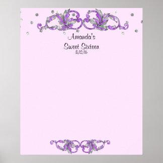 Lavender Sweet Sixteen, Bat Mitzvah Sign in Board Poster
