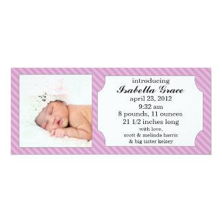 Lavender Sweet Stripes Photo Birth Announcements