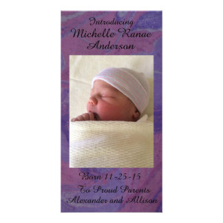 Lavender Swirl Baby Announcement Personalized 8x4