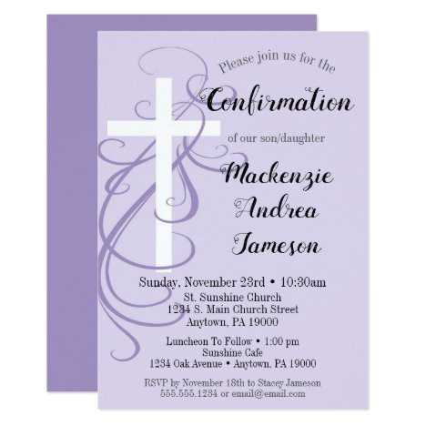 Lavender Swirl Cross Confirmation Invitation
