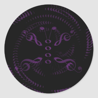 Lavender Swirled Music Butterfly Classic Round Sticker