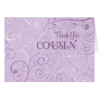Lavender Swirls Cousin Thank You Bridesmaid Card