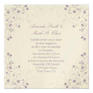 Lavender Swirls on Cream Wedding Invitation