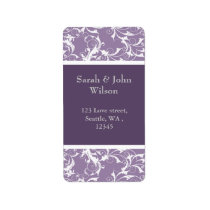 lavender swirls ,return address label