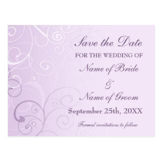 Lavender Swirls Save the Date Wedding Postcards