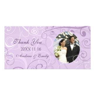 Lavender Swirls Thank You Wedding Photo Cards