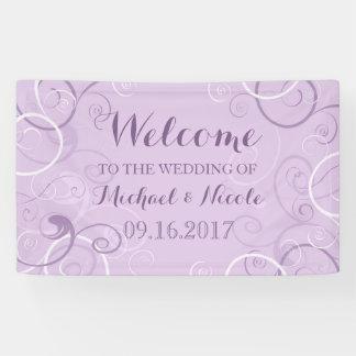 Lavender Swirls Wedding Welcome Sign Banner