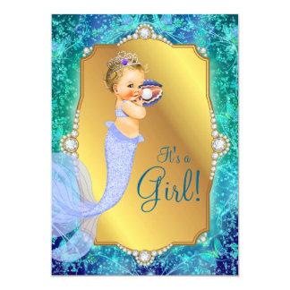 Lavender Teal Blue Under Sea Mermaid Baby Shower Card