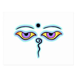 Lavender teal Buddha Eyes.png Postcard