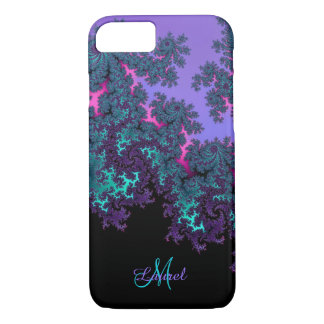 Lavender Teal Fractal Personalized iPhone 7 Case