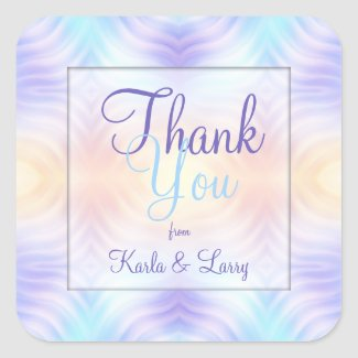 Lavender Teal Yellow Melon Thank You Square Sticker