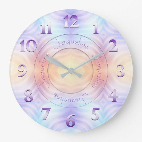 Lavender Teal Yellow Orange Geometric with Name Large Clock