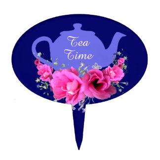 Lavender Teapot and Pink Posies Cake Topper