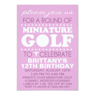 Lavender Tee Time Miniature Golf Birthday Party Card