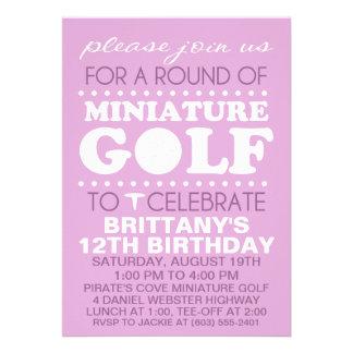 Lavender Tee Time Miniature Golf Birthday Party Invite