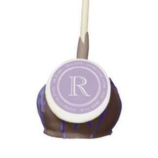 Lavender Text Monogram Wedding Cake Pop Cake Pops