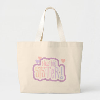 Lavender Text New Big Sister Tshirts and Gifts Large Tote Bag
