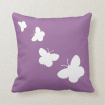 Lavender throw pillow with butterflies