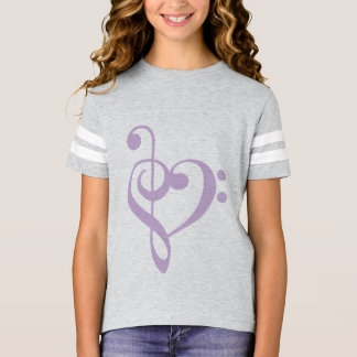 Lavender Treble Clef & Bass Clef Heart T-Shirt