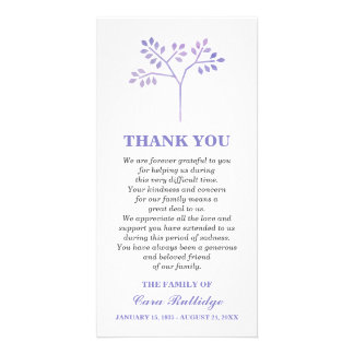Lavender Tree Memorial Service Thank You Card