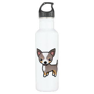 Lavender Tricolor Smooth Coat Chihuahua Dog Stainless Steel Water Bottle