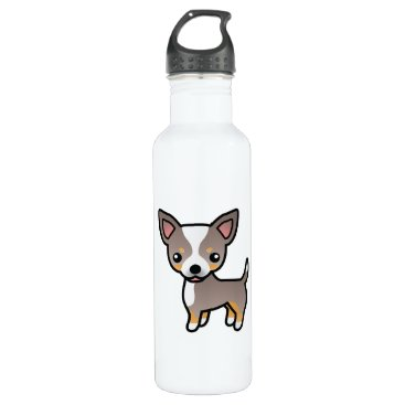 destei Lavender Tricolor Smooth Coat Chihuahua Dog Stainless Steel Water Bottle