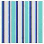[ Thumbnail: Lavender, Turquoise, Blue & Black Colored Stripes Fabric ]
