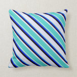 [ Thumbnail: Lavender, Turquoise, Blue & Black Colored Stripes Throw Pillow ]
