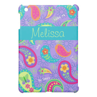 Lavender Turquoise Blue Modern Paisley Pattern Case For The iPad Mini