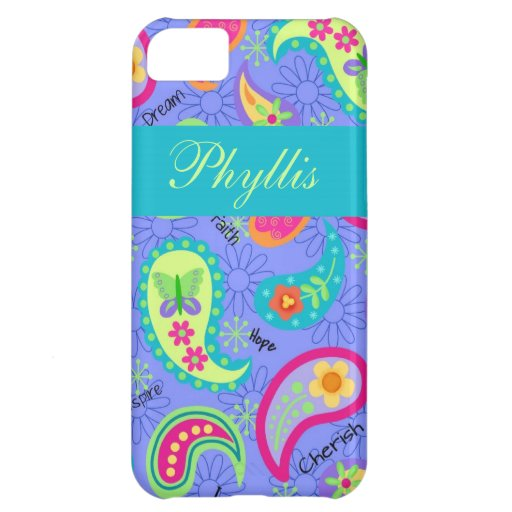 Lavender Turquoise Modern Paisley Pattern iPhone 5C Cover