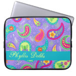 Lavender Turquoise Modern Paisley Pattern Computer Sleeve