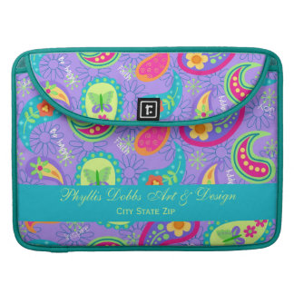 Lavender Turquoise Modern Paisley Pattern Sleeves For MacBook Pro