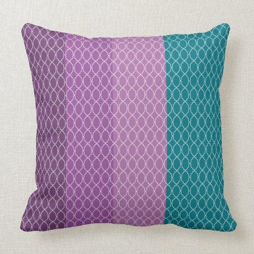 lavender turquoise violet modern geometric square throw pillow Zazzle